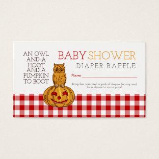 Cartão De Visitas Bilhete do Raffle da fralda do bebê da coruja & do