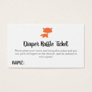 Cartão De Visitas Bilhete do Raffle da fralda do Fox do chá de