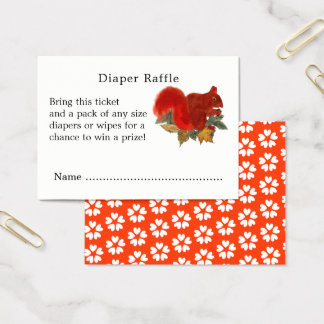 Cartão De Visitas Bilhetes bonitos do Raffle da fralda do esquilo