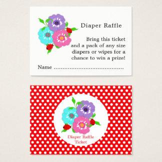 Cartão De Visitas Bilhetes bonitos do Raffle da fralda dos joaninhas