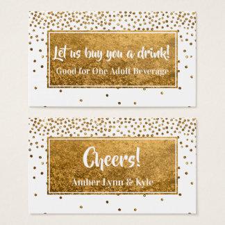Cartão De Visitas Bilhetes da bebida com confetes & branco da folha