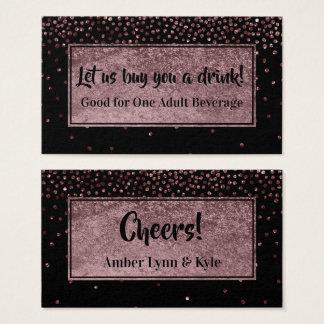 Cartão De Visitas Bilhetes da bebida com confetes cor-de-rosa &