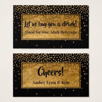 Cartão De Visitas Bilhetes da bebida com confetes & preto da folha