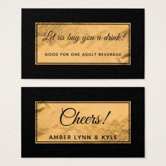 Cartão De Visitas Bilhetes da bebida com crachá da folha de ouro do