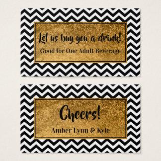 Cartão De Visitas Bilhetes da bebida com folha de ouro do falso & BW