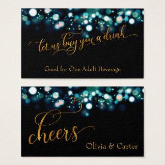 Cartão De Visitas Bilhetes da bebida, roteiro do ouro & cerceta