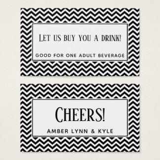 Cartão De Visitas Bilhetes pretos & brancos da bebida do teste
