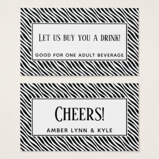 Cartão De Visitas Bilhetes retros pretos & brancos da bebida do