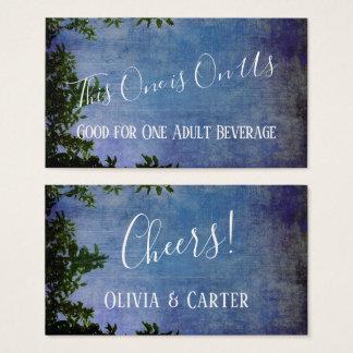 Cartão De Visitas Bilhetes rústicos azuis & roxos da bebida do