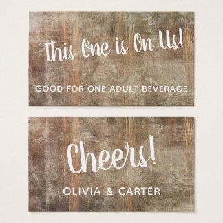 Cartão De Visitas Bilhetes rústicos de madeira afligidos da bebida