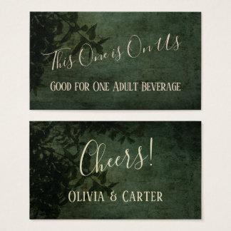 Cartão De Visitas Bilhetes rústicos verdes escuro & pretos da bebida
