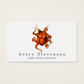 Cartão De Visitas Biologia marinha do polvo vermelho do vintage