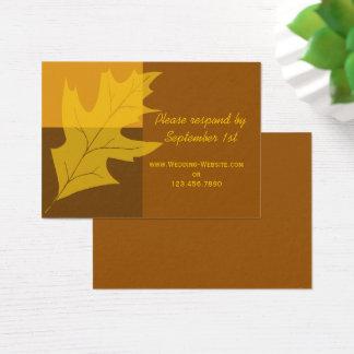 Cartão De Visitas Bloco da cor da folha da queda que Wedding o