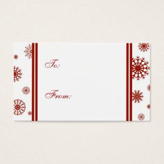 Cartão De Visitas Boas festas Tag vermelhos do presente dos flocos