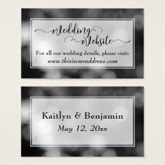 Cartão De Visitas Bokeh do roteiro do Web site do casamento, o preto