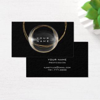 Cartão De Visitas Bola de vidro branca do preto do ouro do