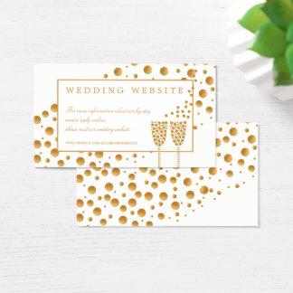 Cartão De Visitas Bolhas de Champagne do ouro que Wedding o Web site