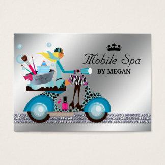 Cartão De Visitas Bolhas modernas da forma da menina do patinete do