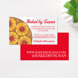 Cartão De Visitas Bolo de cabeça para baixo do abacaxi cozido pela