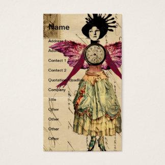 Cartão De Visitas Boneca dos meios mistos com asas cor-de-rosa