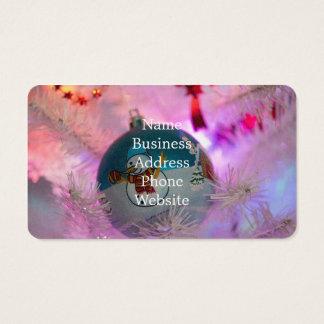 Cartão De Visitas Boneco de neve - bolas do Natal - Feliz Natal