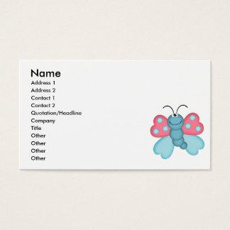 Cartão De Visitas borboleta azul e cor-de-rosa bonito