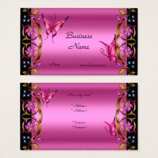 Cartão De Visitas Borboleta floral elegante do preto do rosa do ouro