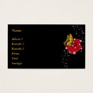 Cartão De Visitas Borboleta na rosa vermelha com pingos de chuva e