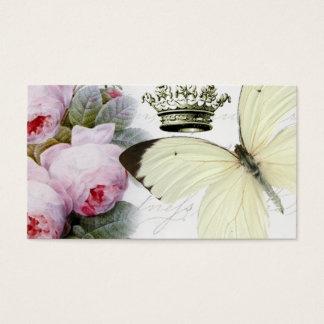 Cartão De Visitas Borboleta, rosas e coroa