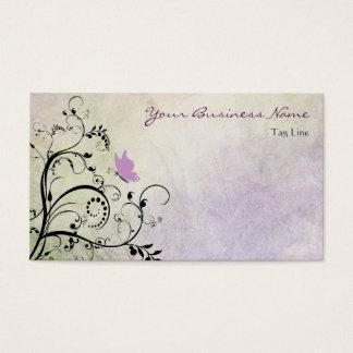 Cartão De Visitas Borboleta roxa bonito e videiras da silhueta