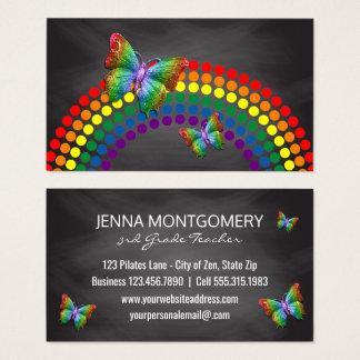 Cartão De Visitas Borboletas do arco-íris do professor | do quadro
