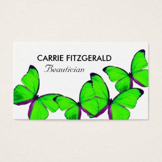 Cartão De Visitas Borboletas do verde limão, Beautician