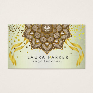 Cartão De Visitas Bordado de Lotus do professor da ioga da mandala