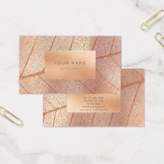 Cartão De Visitas Botânico metálico de vidro do pêssego da folha de