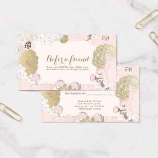 Cartão De Visitas Botânicos florais do vintage coram ouro consultam
