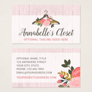 Cartão De Visitas Boutique cor-de-rosa floral da forma do armário do