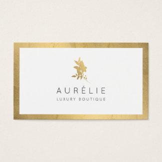 Cartão De Visitas Boutique luxuoso floral do ouro simples do falso