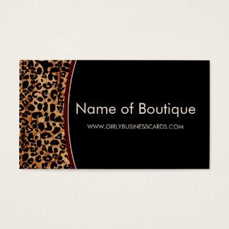 Cartão De Visitas Boutique moderno do impressão na moda do leopardo