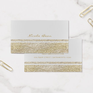 Cartão De Visitas Branco & acendendo o chique Glam de Bling do ouro