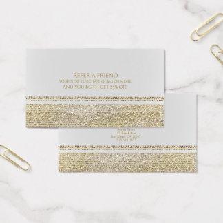 Cartão De Visitas Branco & acendendo o ouro Bling Glam consulte um