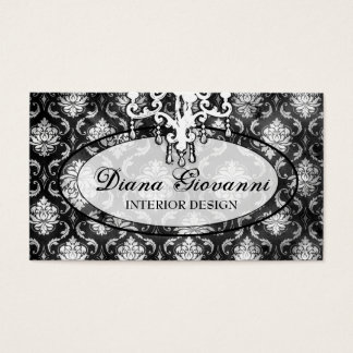 Cartão De Visitas Branco adorador do preto do damasco do GC