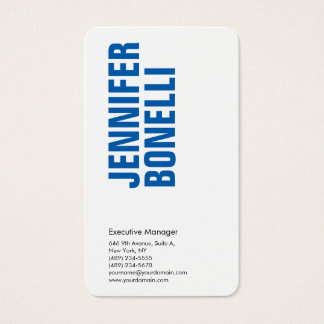 Cartão De Visitas Branco azul corajoso moderno minimalista