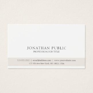 Cartão De Visitas Branco bege elegante limpo clássico profissional
