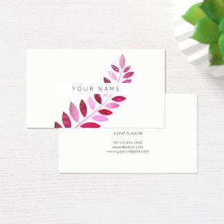 Cartão De Visitas Branco botânico do rosa do rosa da samambaia do