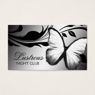 Cartão De Visitas Branco brilhante do preto da borboleta 311