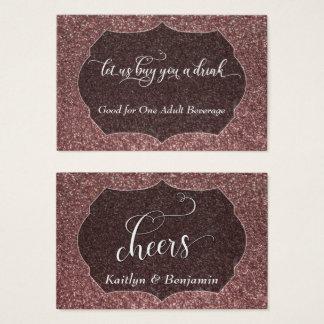 Cartão De Visitas Branco & brilho cor-de-rosa do falso do ouro,