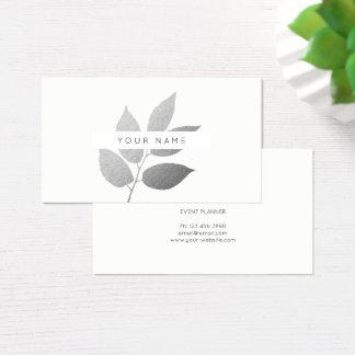 Cartão De Visitas Branco cinzento de prata botânico de Eco do louro