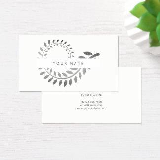 Cartão De Visitas Branco cinzento de prata botânico de Spirale da