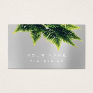 Cartão De Visitas Branco cinzento de prata orgânico da samambaia