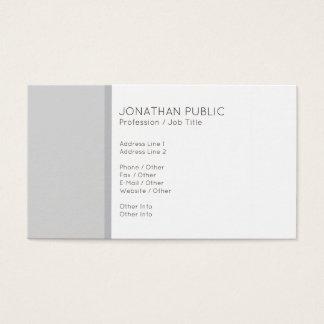 Cartão De Visitas Branco cinzento moderno profissional minimalista